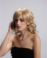 Lady's long hair style curly blonde wigs  YS-9032